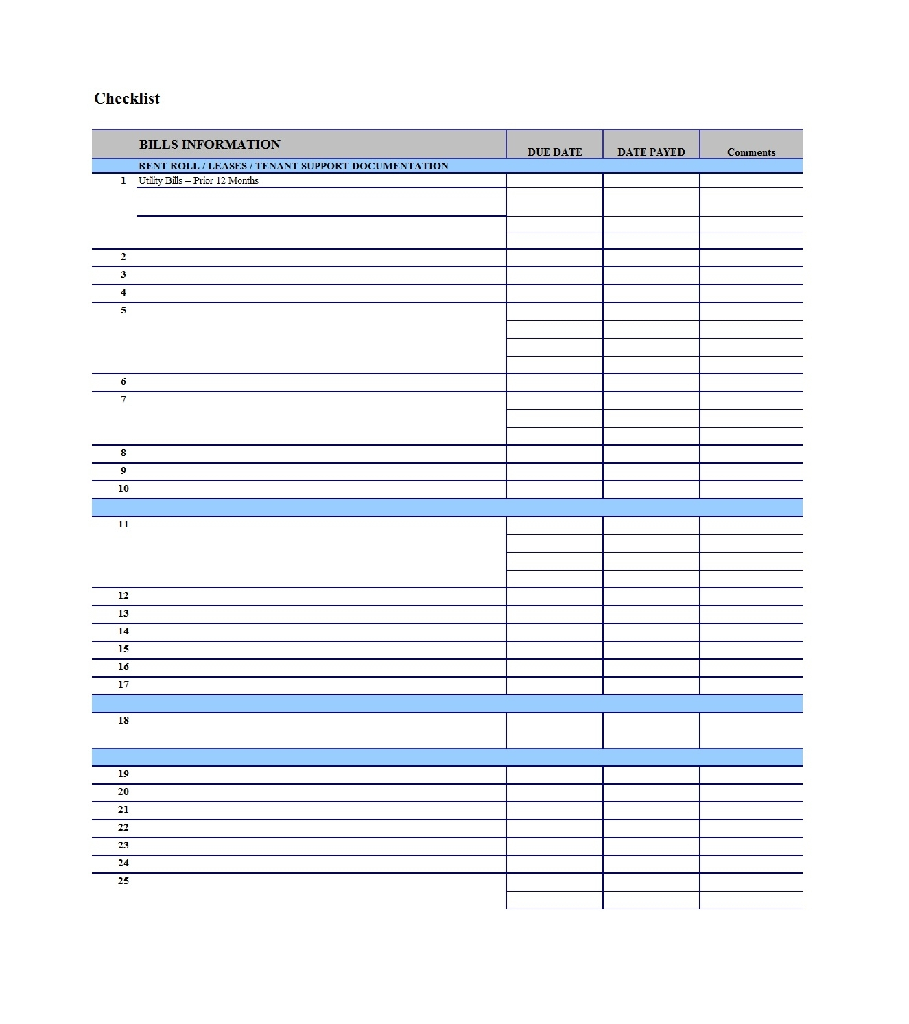 Free Printable Monthly Bill Checklist Pay Template Samples for Free Printable Monthly Bill Templates
