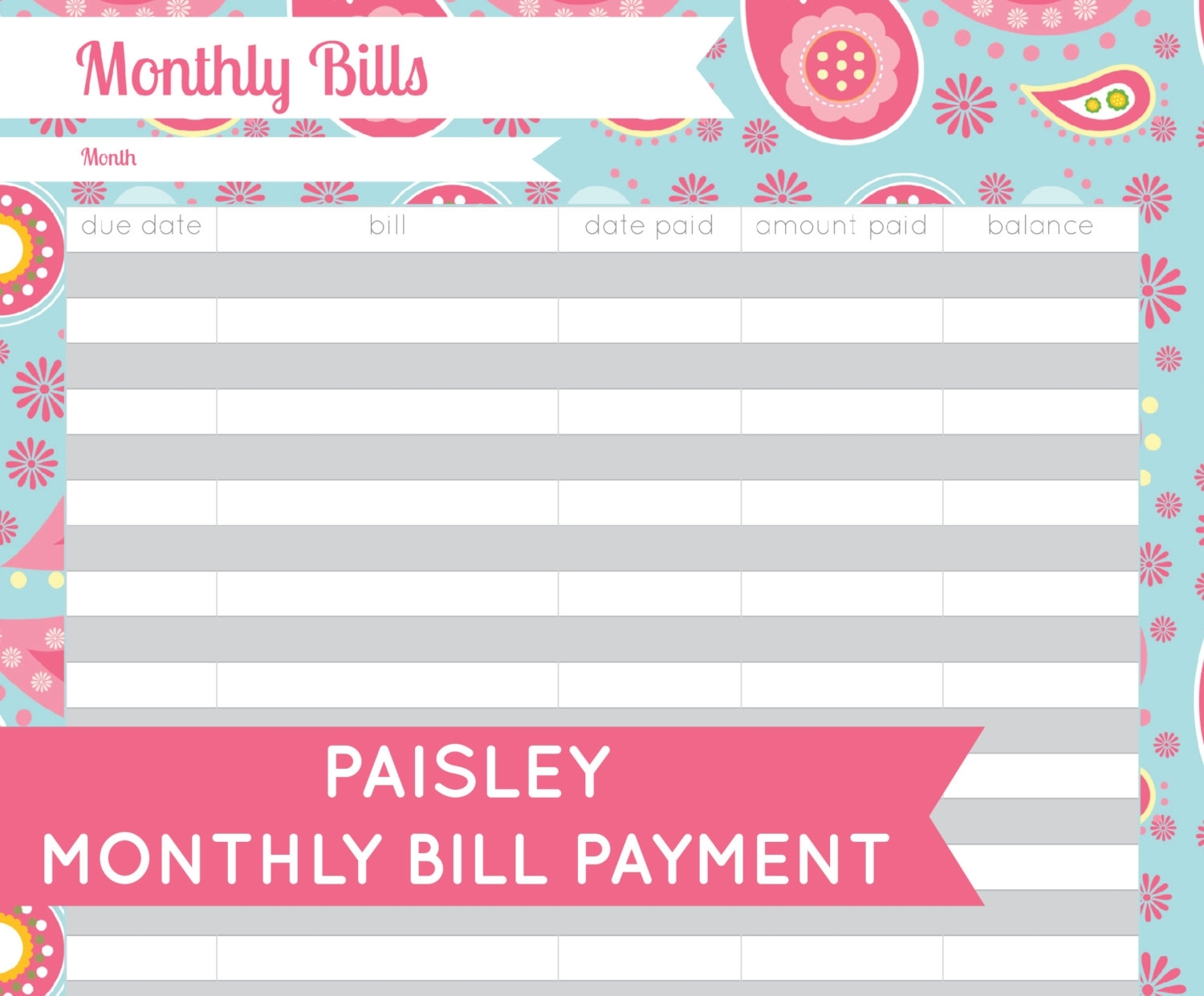 Free Printable Monthly Bill Organizer Template | Camisonline in Free Bill Organizer Printable Sheets