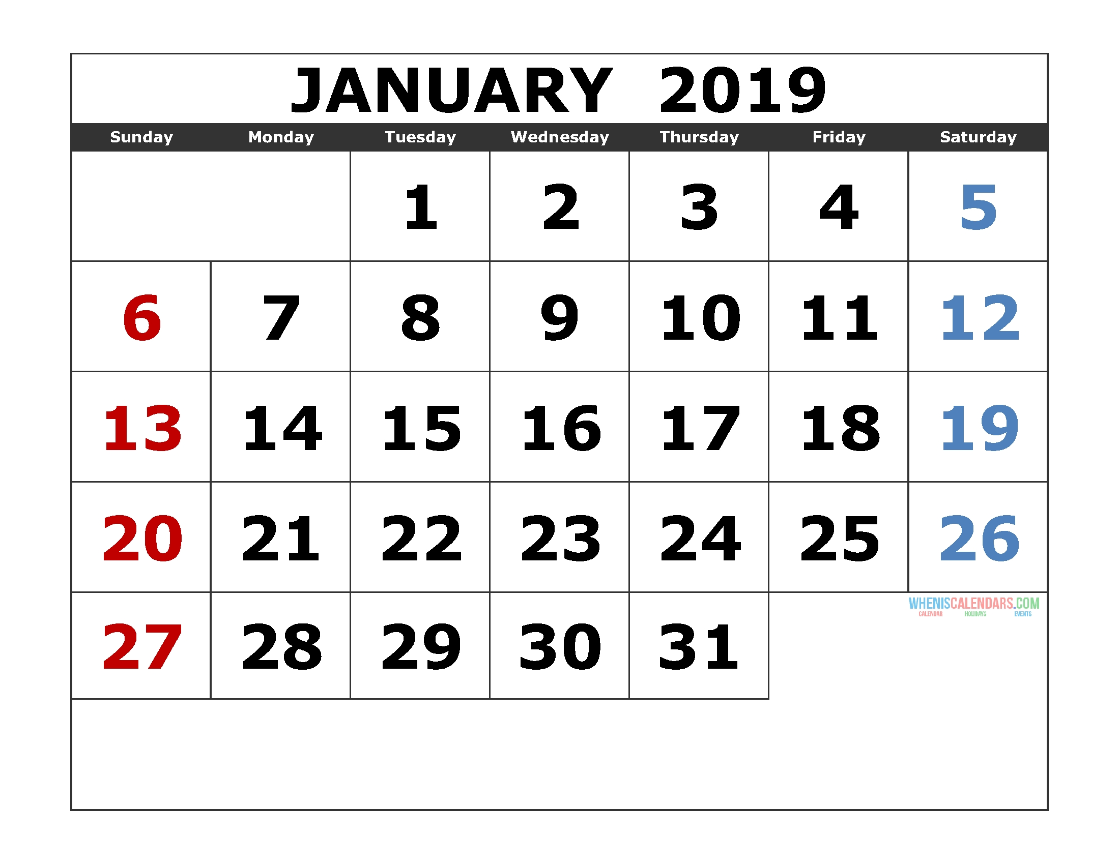 Free Printable Monthly Calendar 2019 Pdf, Excel, Image [Us. Edition for Printable Monthly Calendar With Lines Large