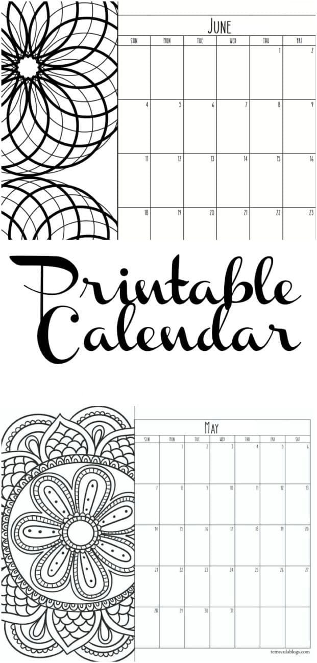 Free Printable Monthly Calendar For Each Year with Printable Month To Month Calendar