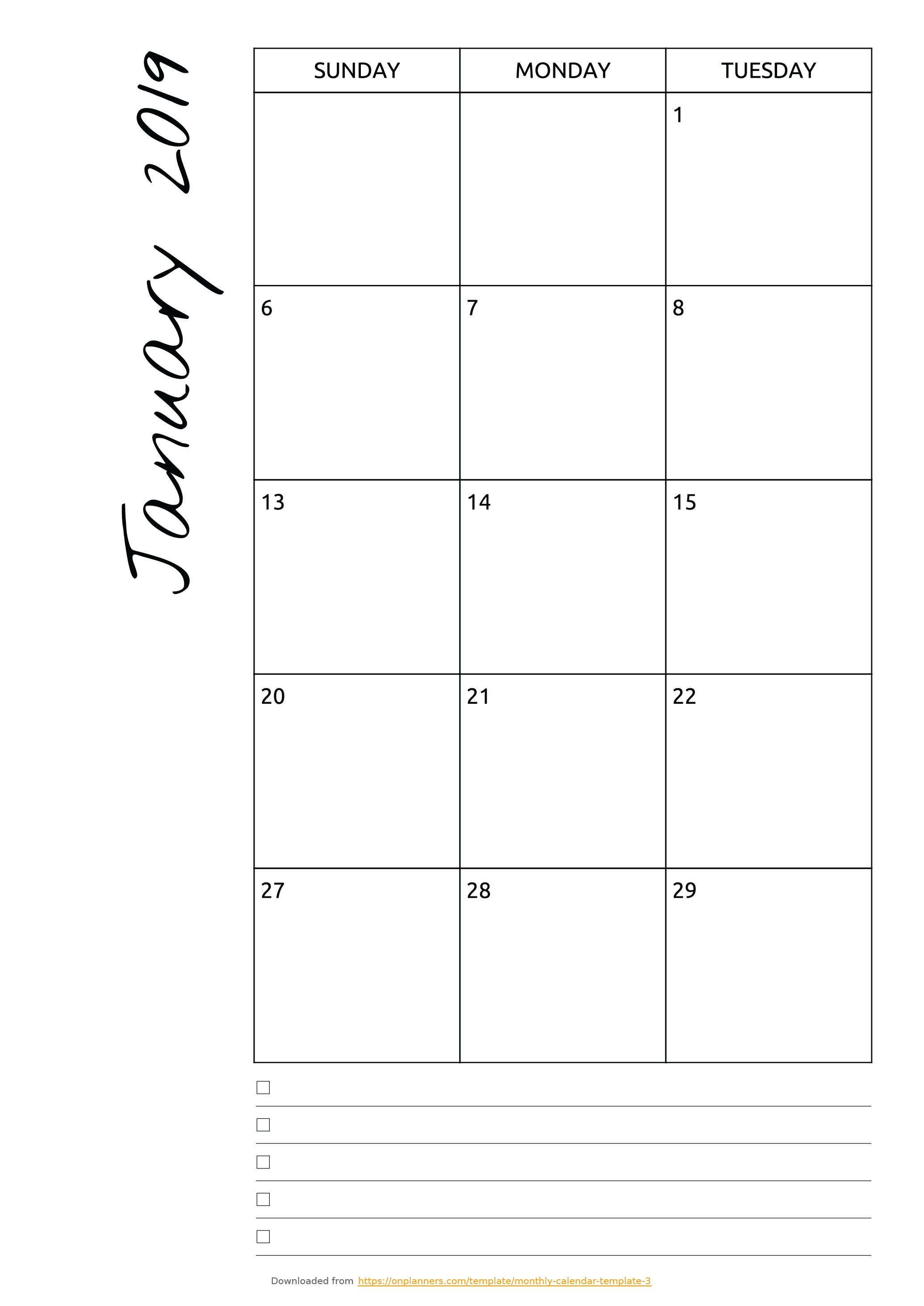 Free Printable Monthly Calendar With Notes Pdf Download regarding Blank Calendar Template With Notes