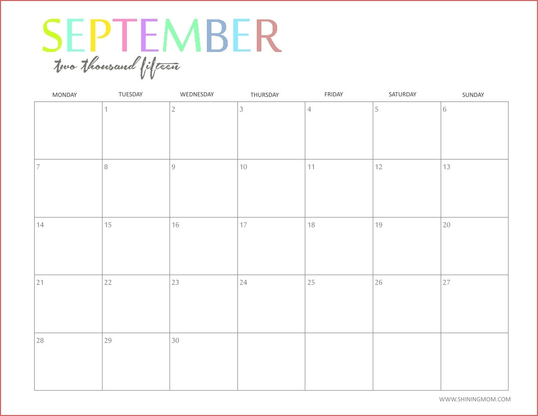 Free Printable Monthly Calendars For Teachers Free Printable pertaining to Editable 2015 Monthly Calendar Template