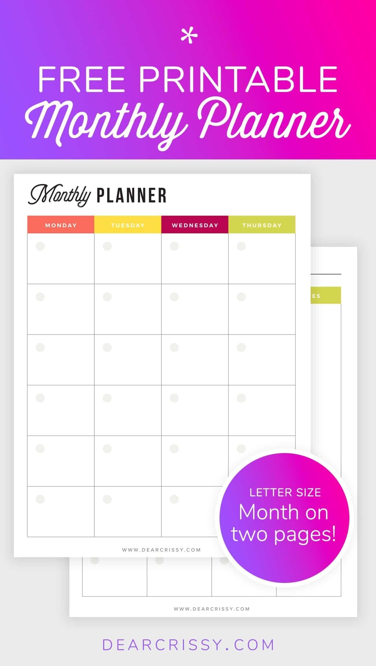 Free Printable Monthly Planner | Free Printable Planners | Free regarding Undated Printable Monthly Calendar Free