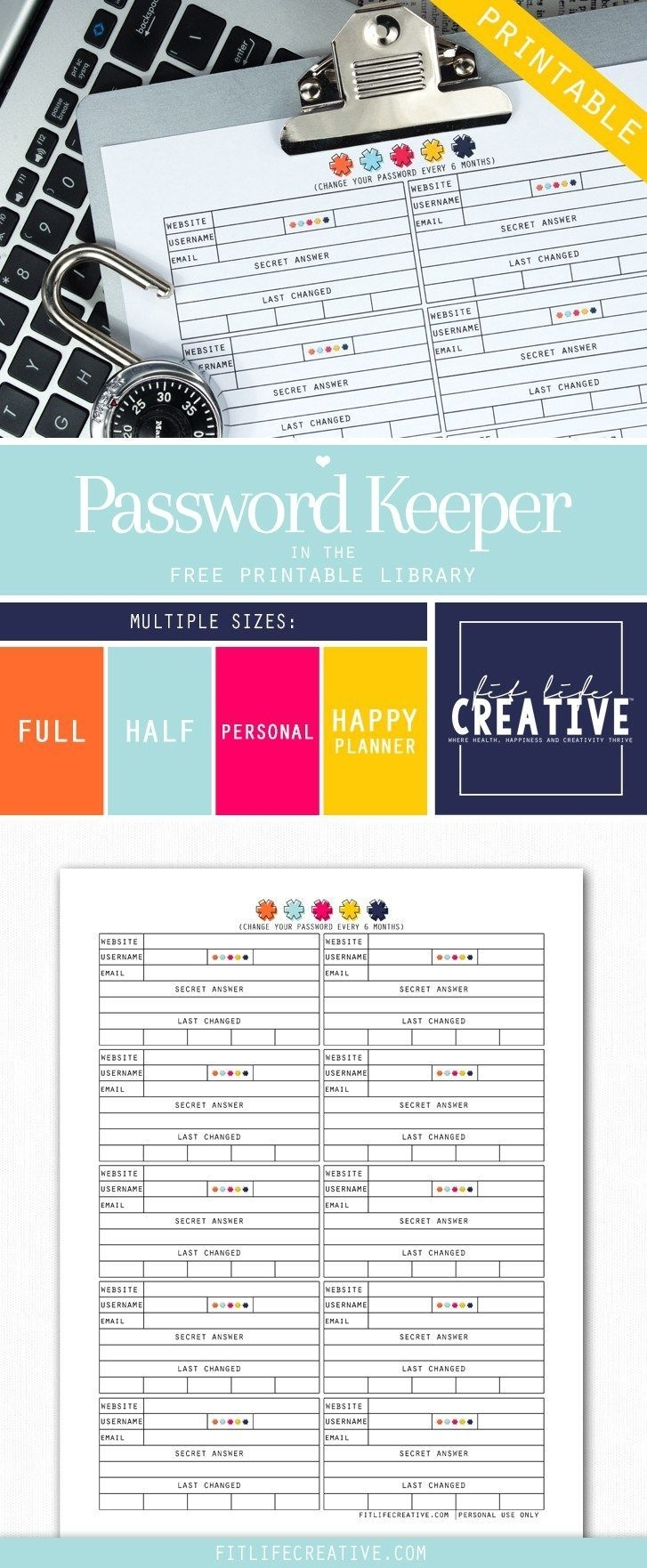 Free Printable Password Keeper Planner Insert. Available In Multiple inside Free Printable Password Organizer Sheets