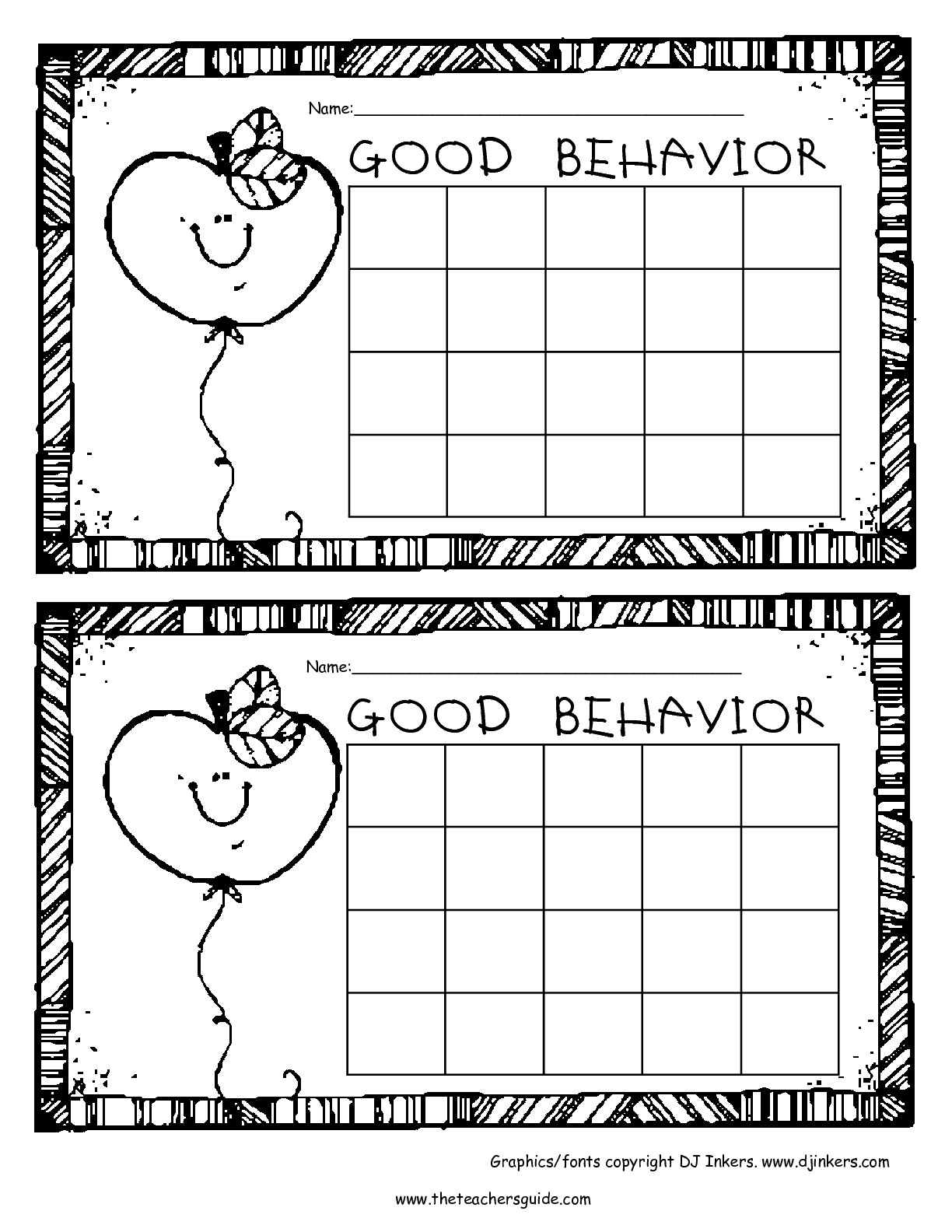 Free Printable Reward And Incentive Charts intended for Free Printable Behavior Chart Templates
