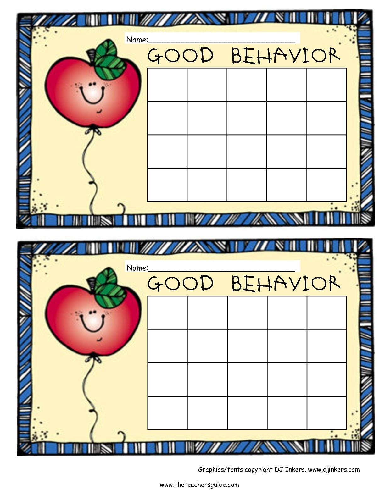 Free Printable Reward And Incentive Charts with Free Printable Blank Behavior Charts