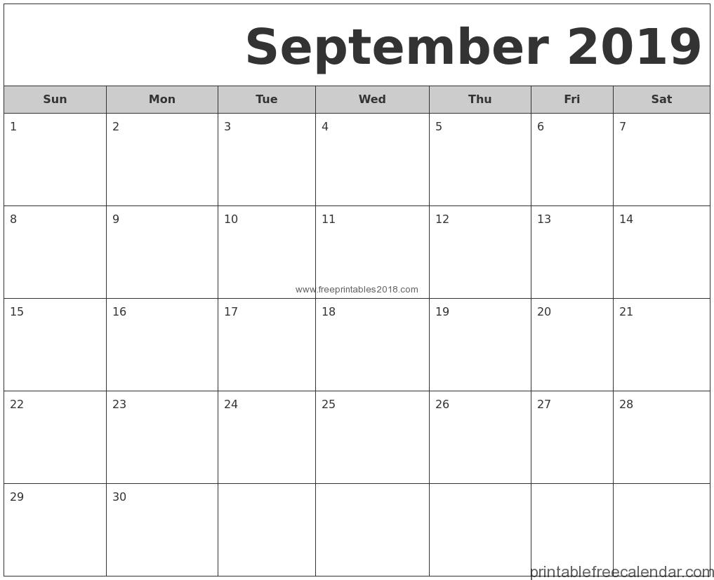 Free Printable September 2019 Calendar Templates | Free Printables 2019 inside August And Septembercalendar Free Printables