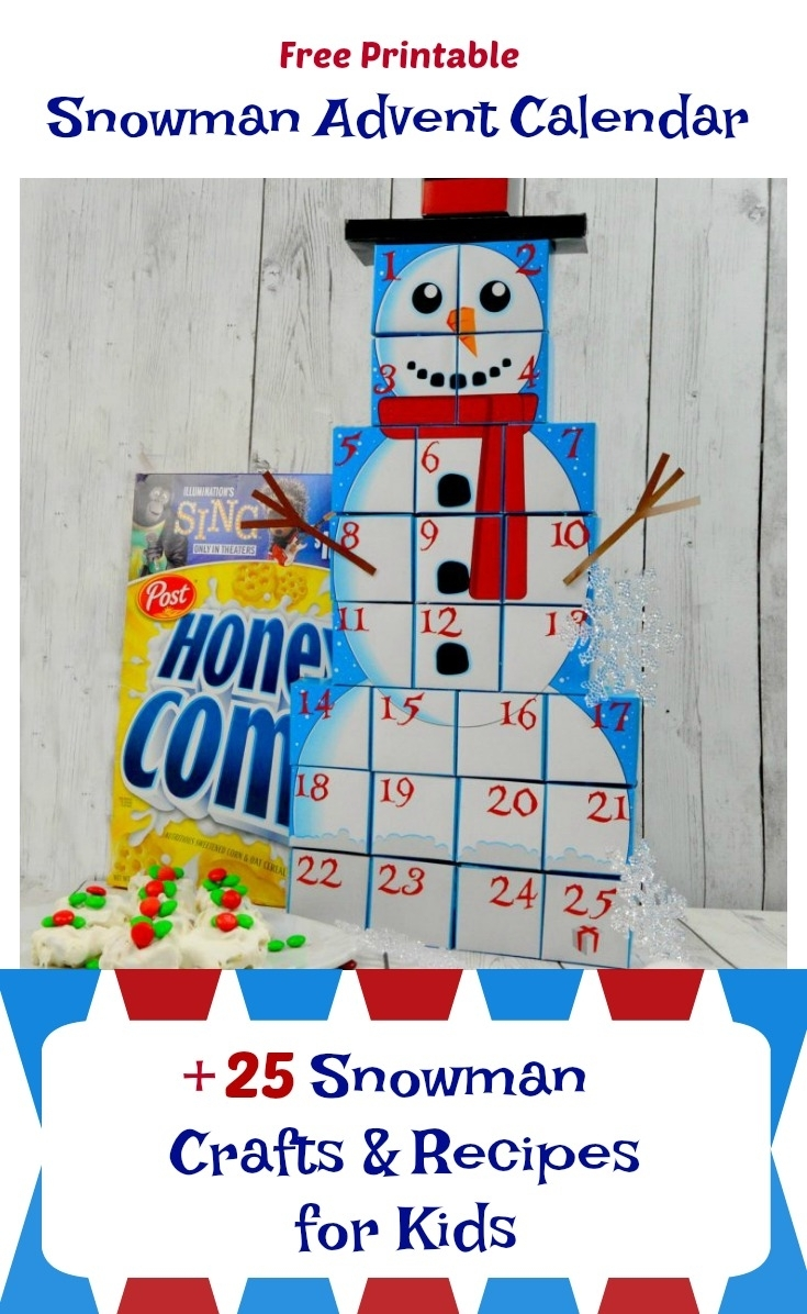 Free Printable Snowman Advent Calendar + 25 Snowman Crafts And inside Advent Calendar Arts And Crafts For Preschool