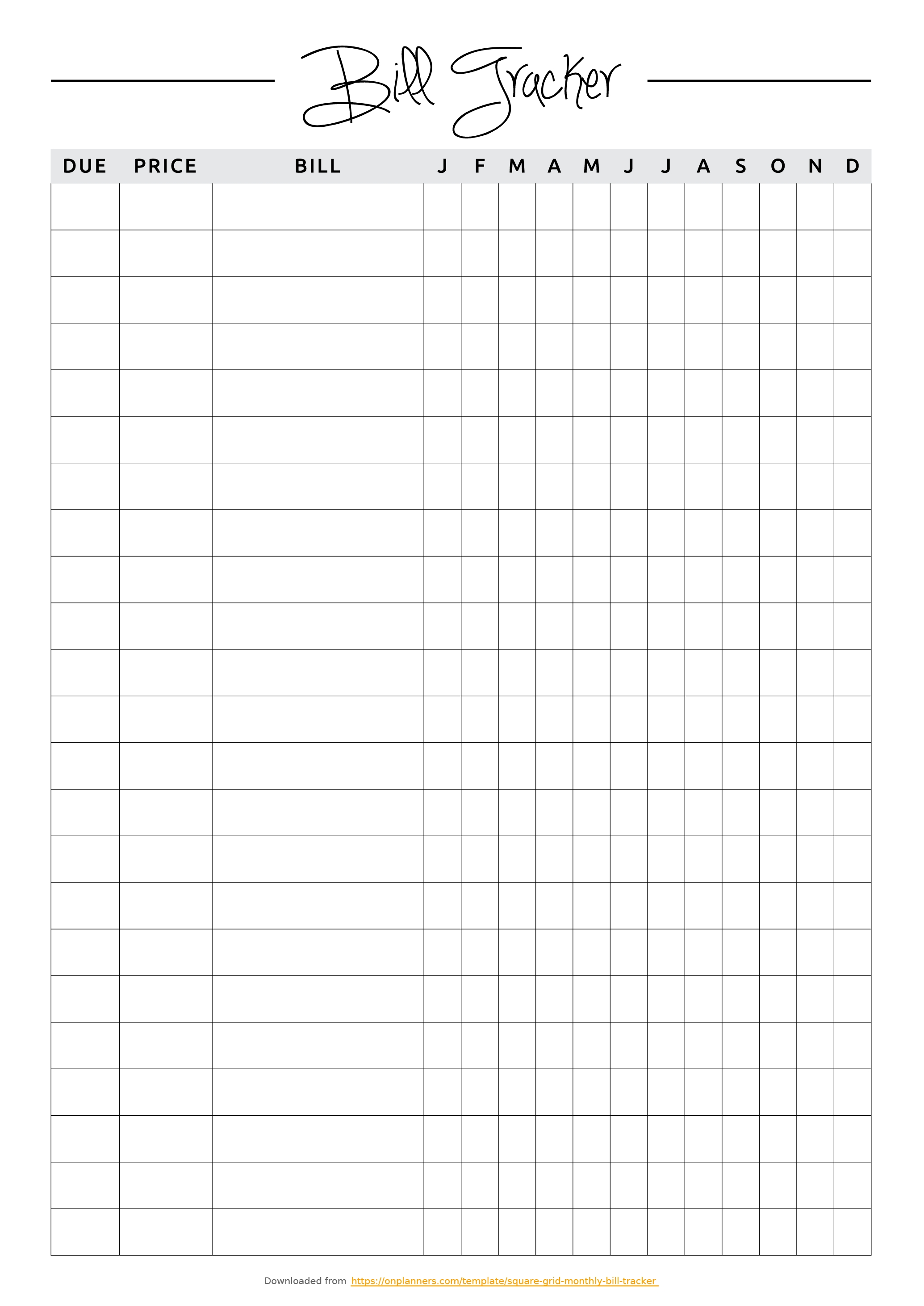 Free Printable Square Grid Monthly Bill Tracker Pdf Download pertaining to Free Printable Monthly Bill Tracker
