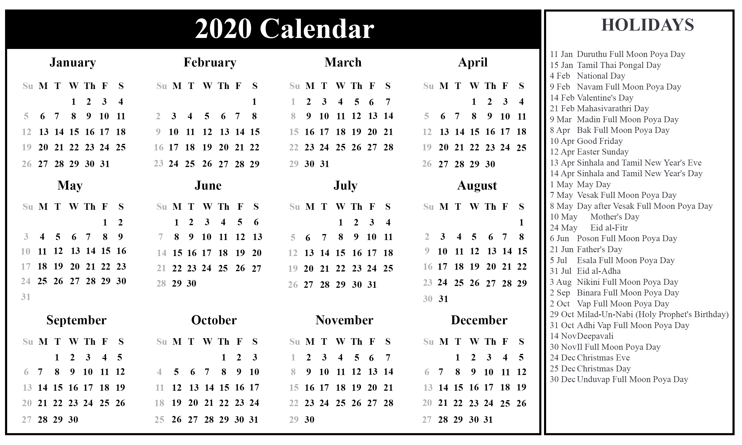 Free Printable Sri Lanka Calendar 2020 With Holidays | Printable throughout List Ofhoidays In Sri Lanka