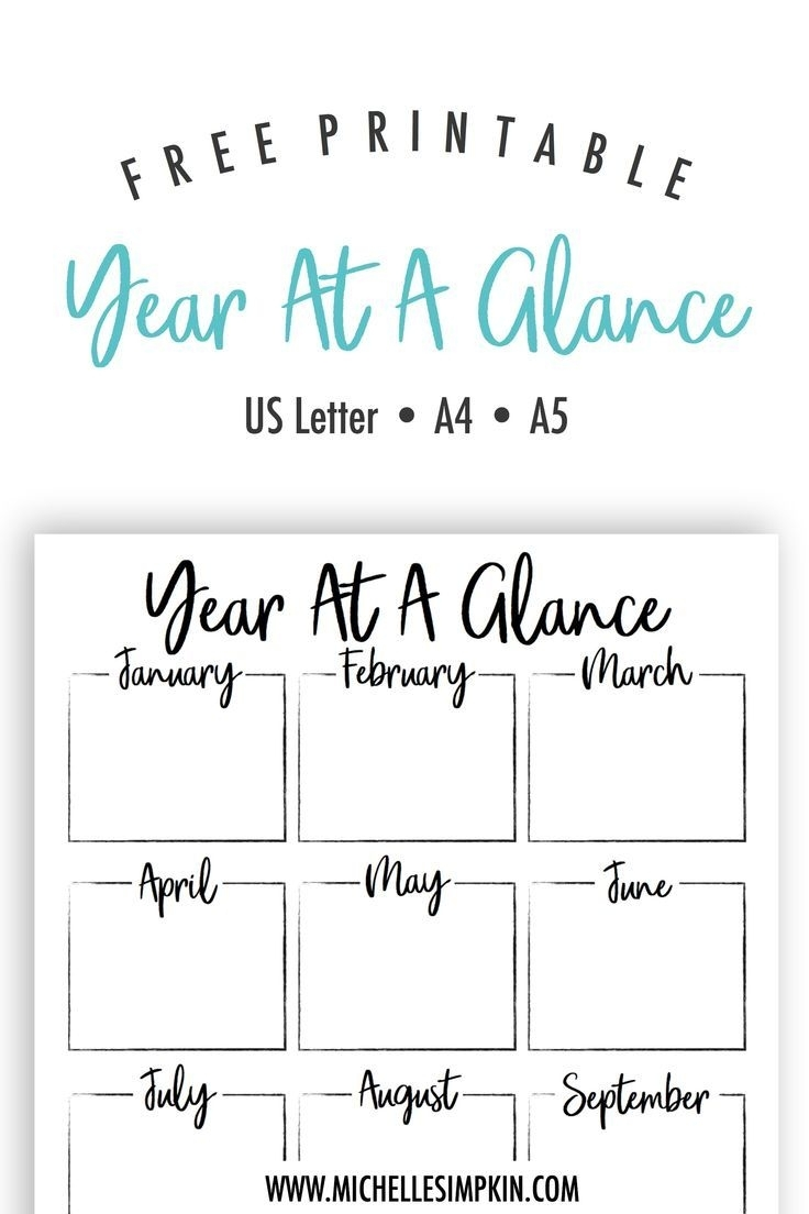 Free Printable - This Year At A Glance Printable Will Help You Plan in Year At A Glance Template