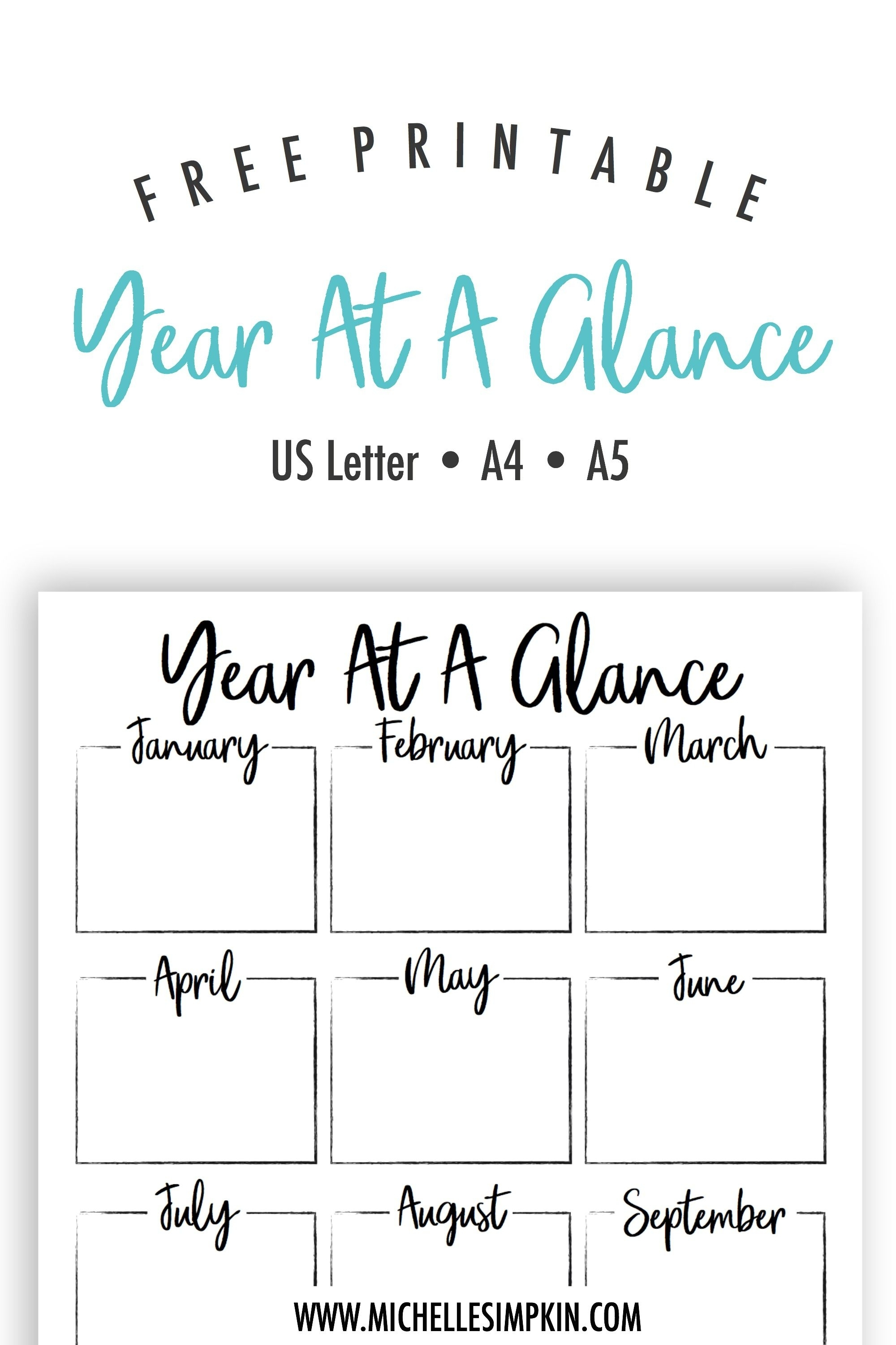 Free Printable - This Year At A Glance Printable Will Help You Plan with regard to Year At A Glance Free