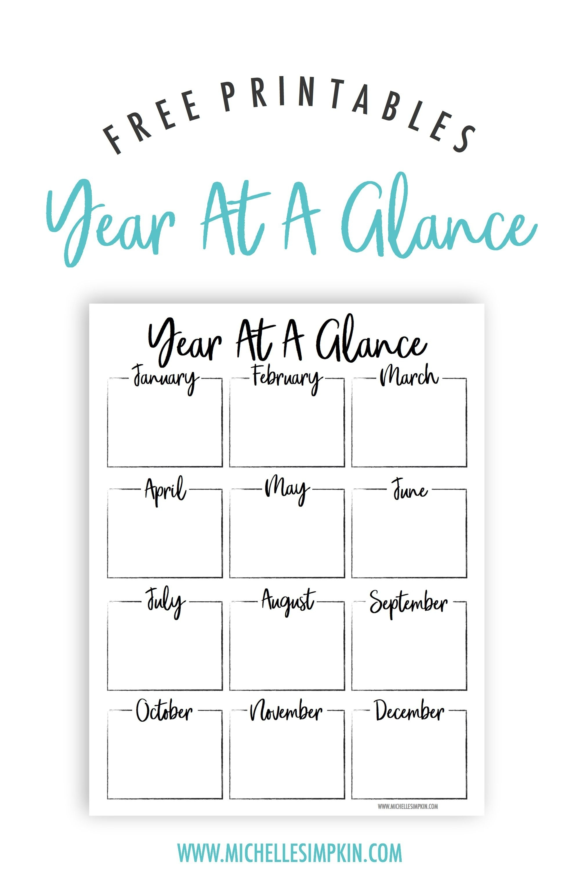Free Printable - This Year At A Glance Printable Will Help You Plan with Year At A Glance Printable