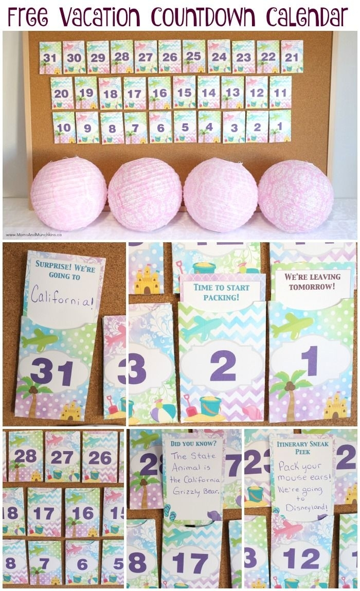 Free Printable Vacation Countdown Calendar | Crafts | Vacation for Free Printable Vacation Countdown Calendar