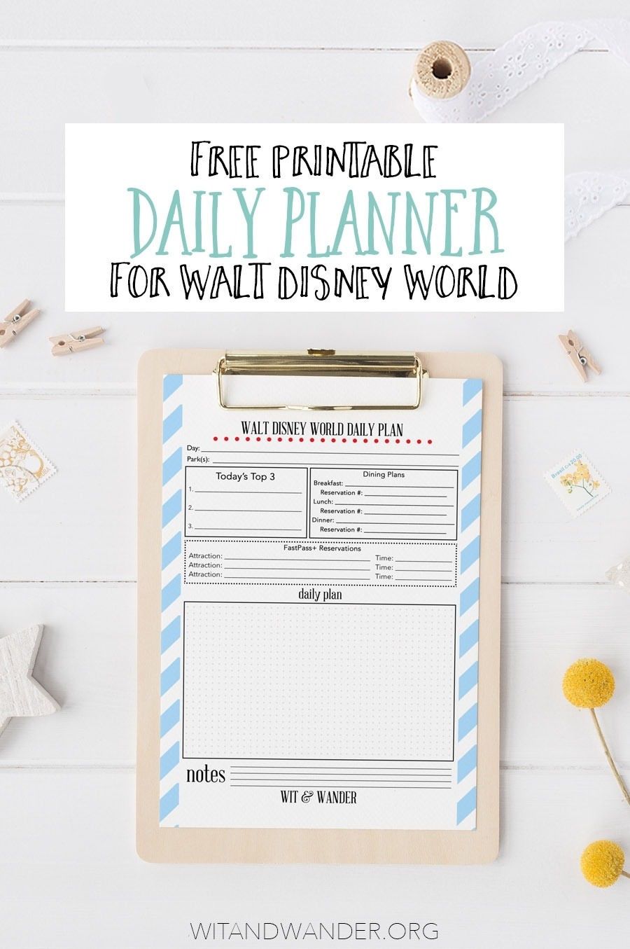 Free Printable Walt Disney World Daily Planner - Our Handcrafted Life with regard to Disney World Printable Planning Sheets