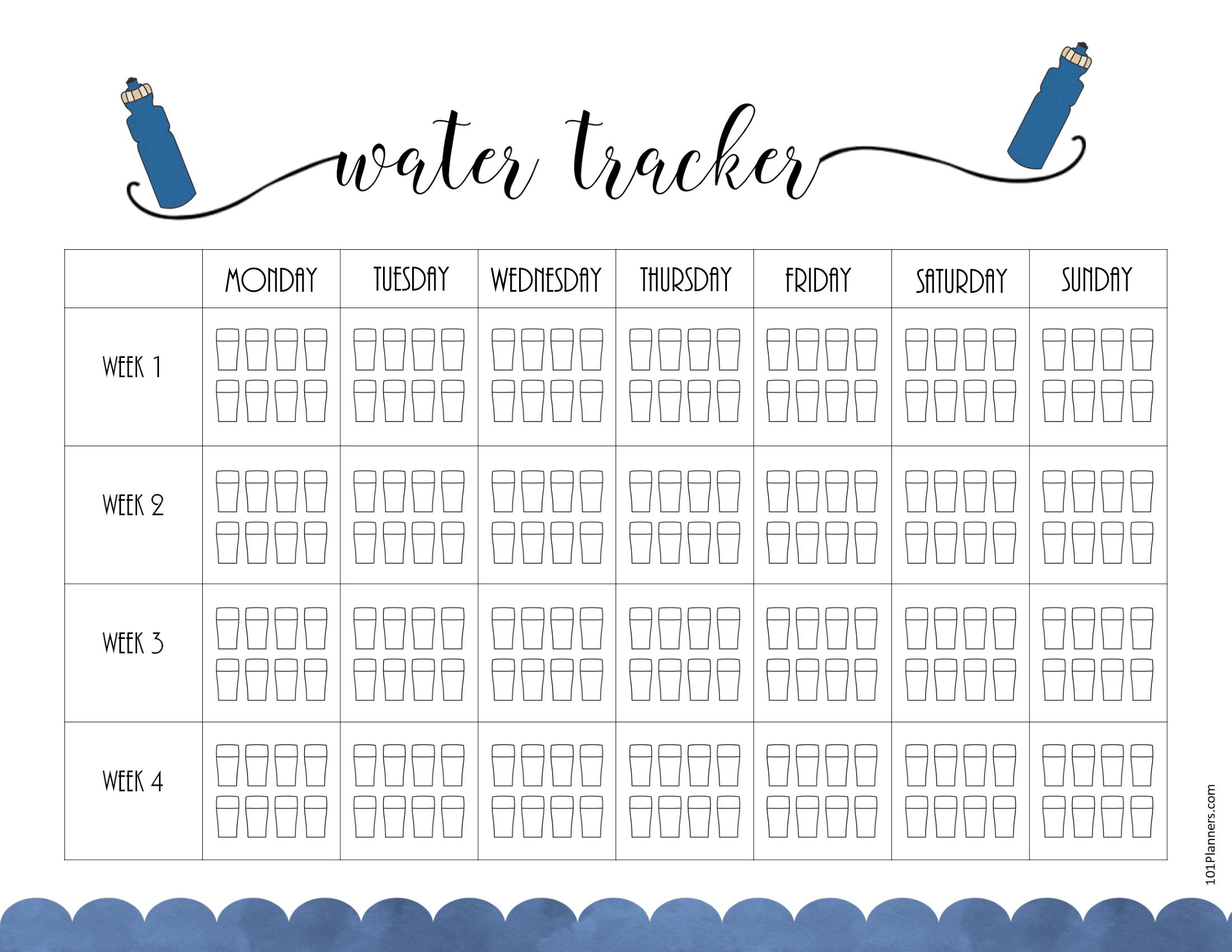Free Printable Water Intake Chart throughout Printable Monday To Sunday Chart