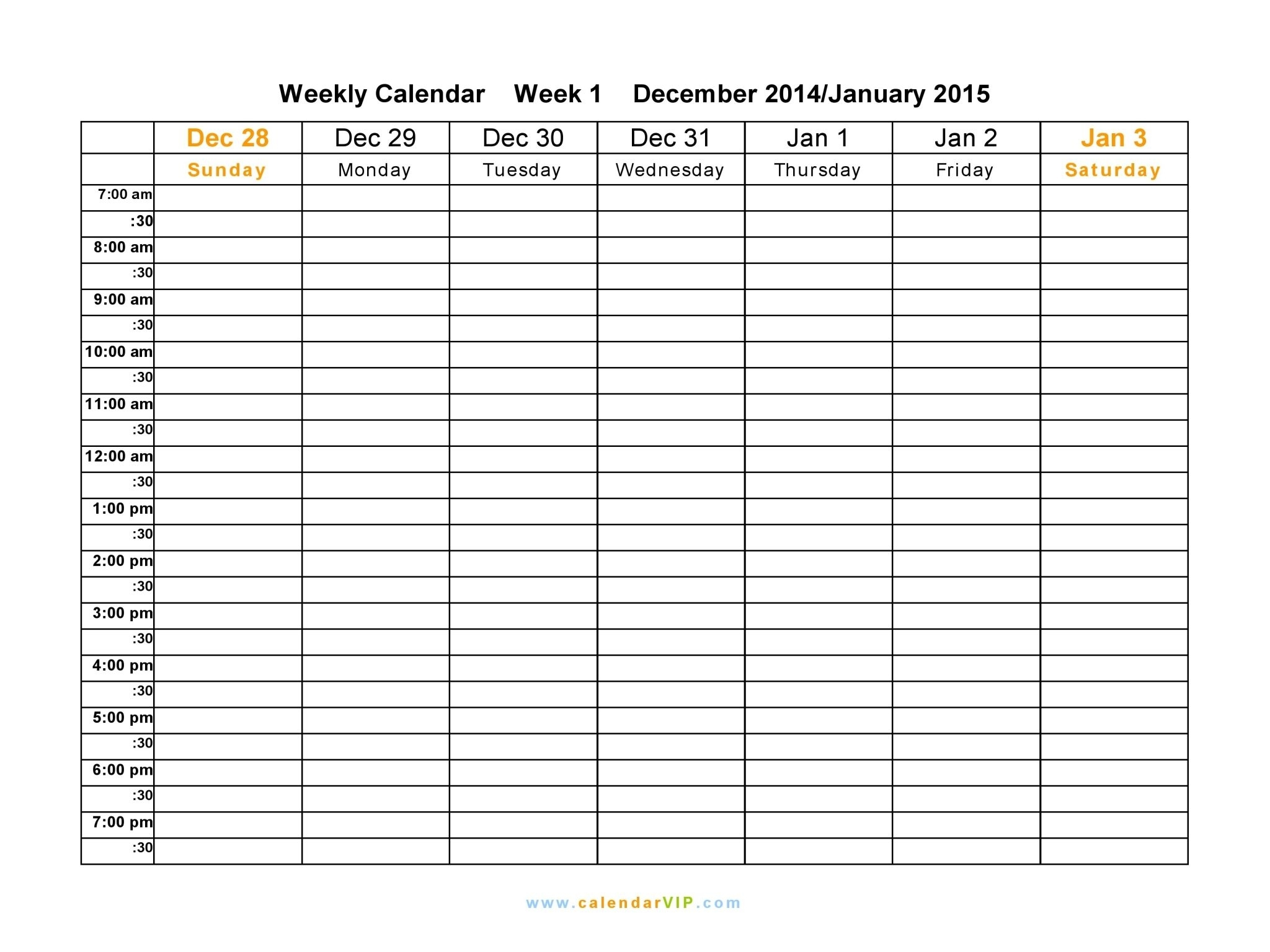Free Printable Weekly Calendar Templates 2015 | Swe | Monthly for Free Online Printable Weekly Calendar