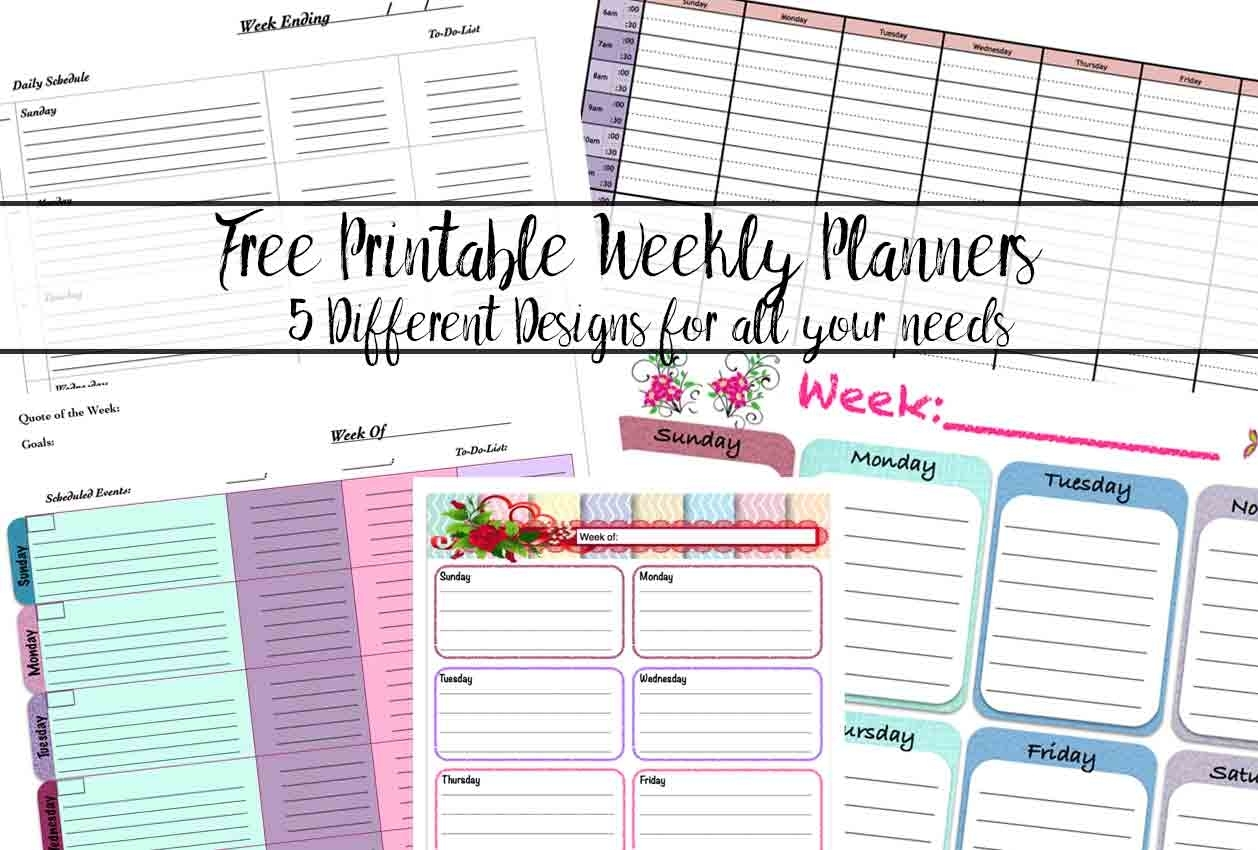 Free Printable Weekly Planners: 5 Designs regarding A Peek At The Week Free Printable Weekly Planner