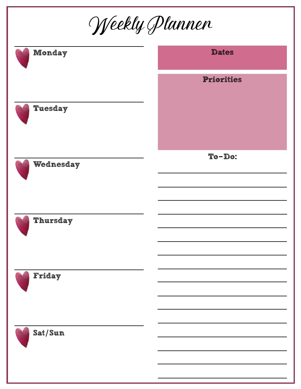 Free Printable Weekly Planners: Monday Start in Pweakley Planner Mon To Sunday