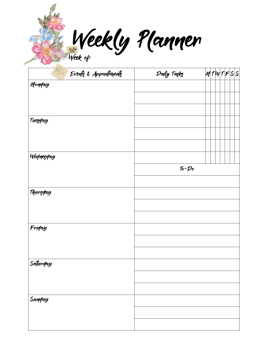 Free Printable Weekly Planners: Monday Start with Monday Through Friday Daily Planner