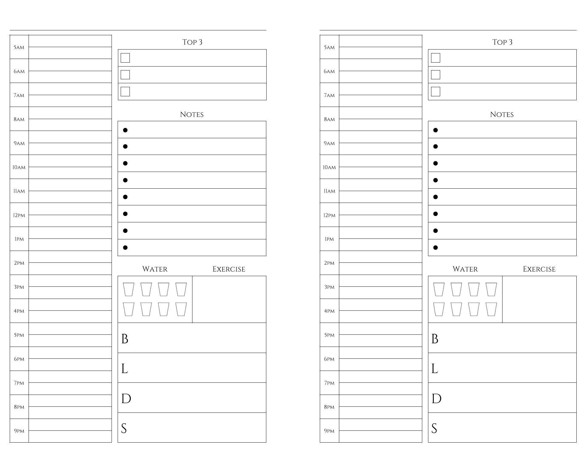 Free Printables   Bullet Journal   Weekly Planner Printable, Meal intended for Free Printable Daily Planner Page Half