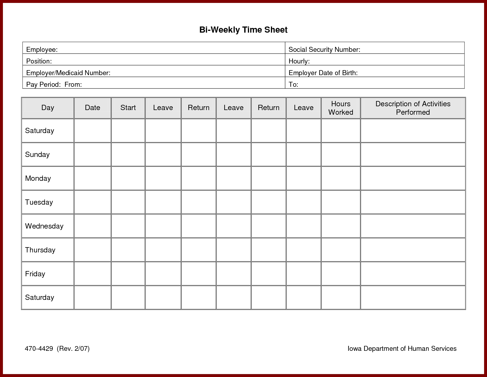 Free Time Tracking And Timesheet Templates For Your Business : Violeet throughout Printable Blank Hourly Income Worksheet