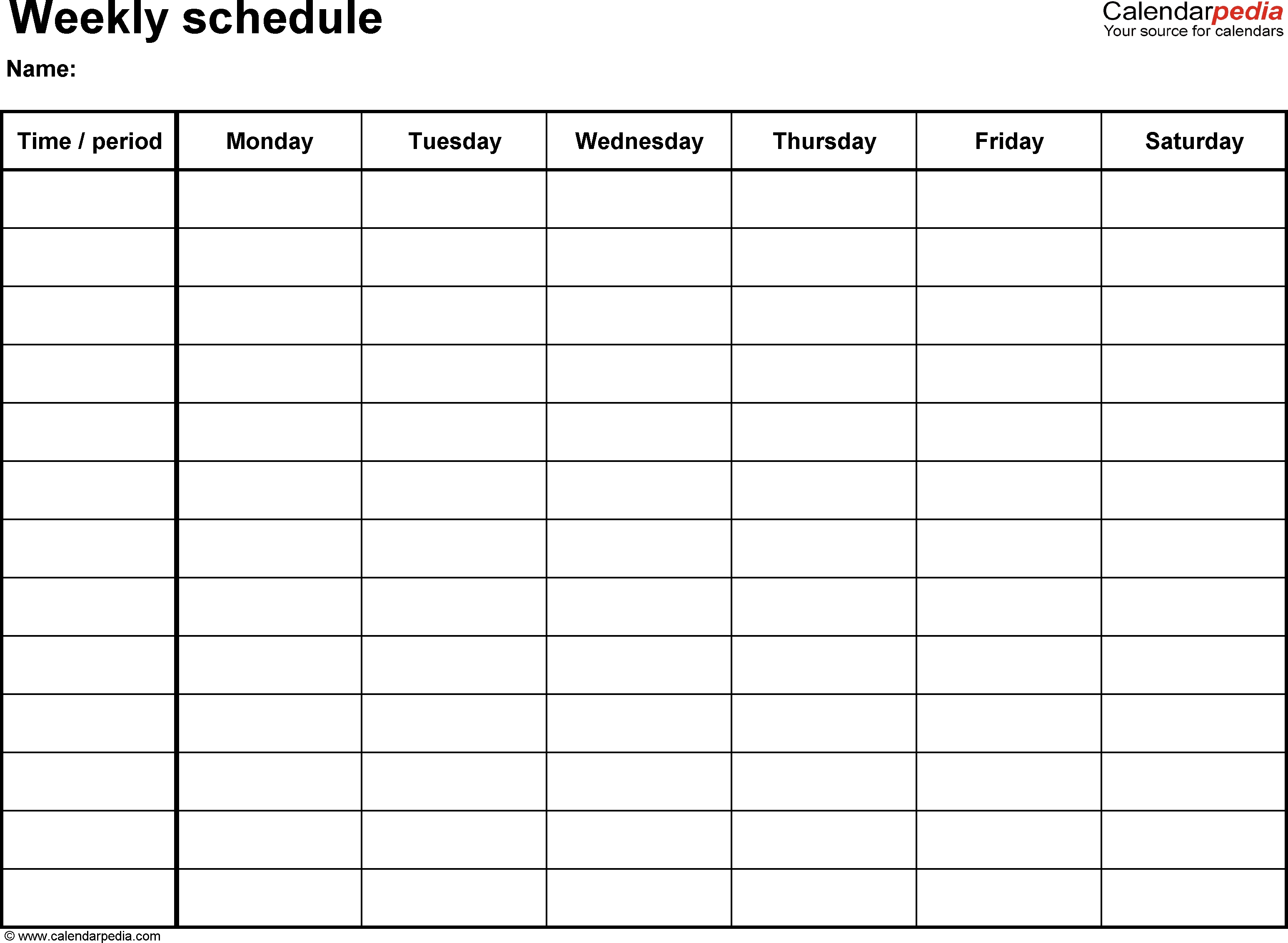 Free Weekly Schedule Templates For Excel - 18 Templates throughout Weekly Schedule Template With Times