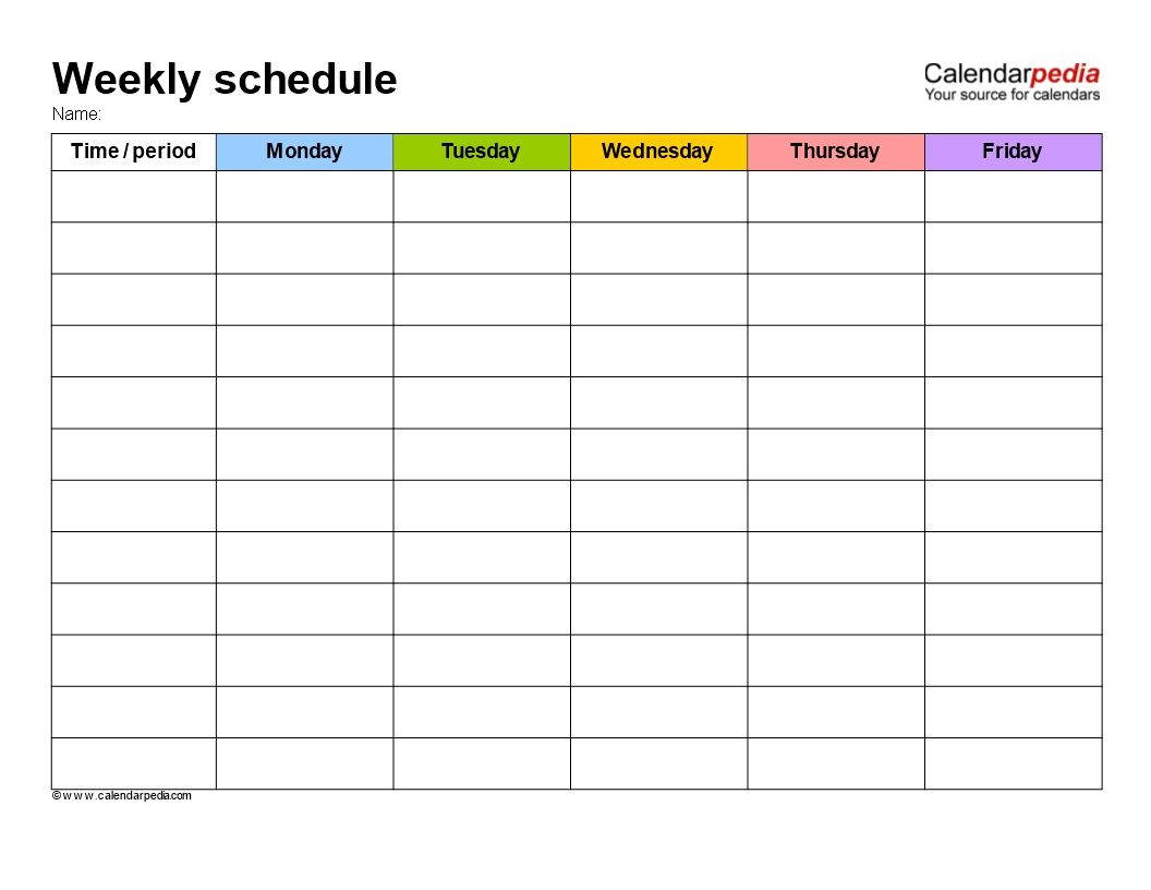Free Weekly School Schedule Template | Templates At inside Template For Monday Through Friday School Schedule