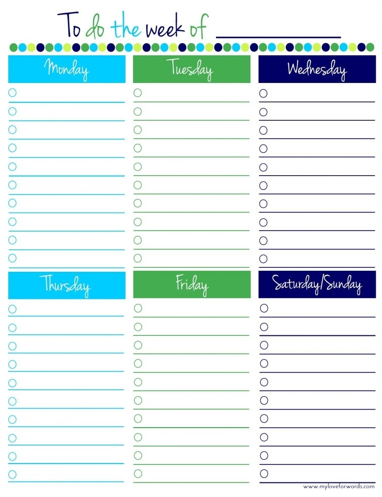 Freebie Friday: Weekly To Do List within Free Printable Daily To Do Checklist Monday Through Friday