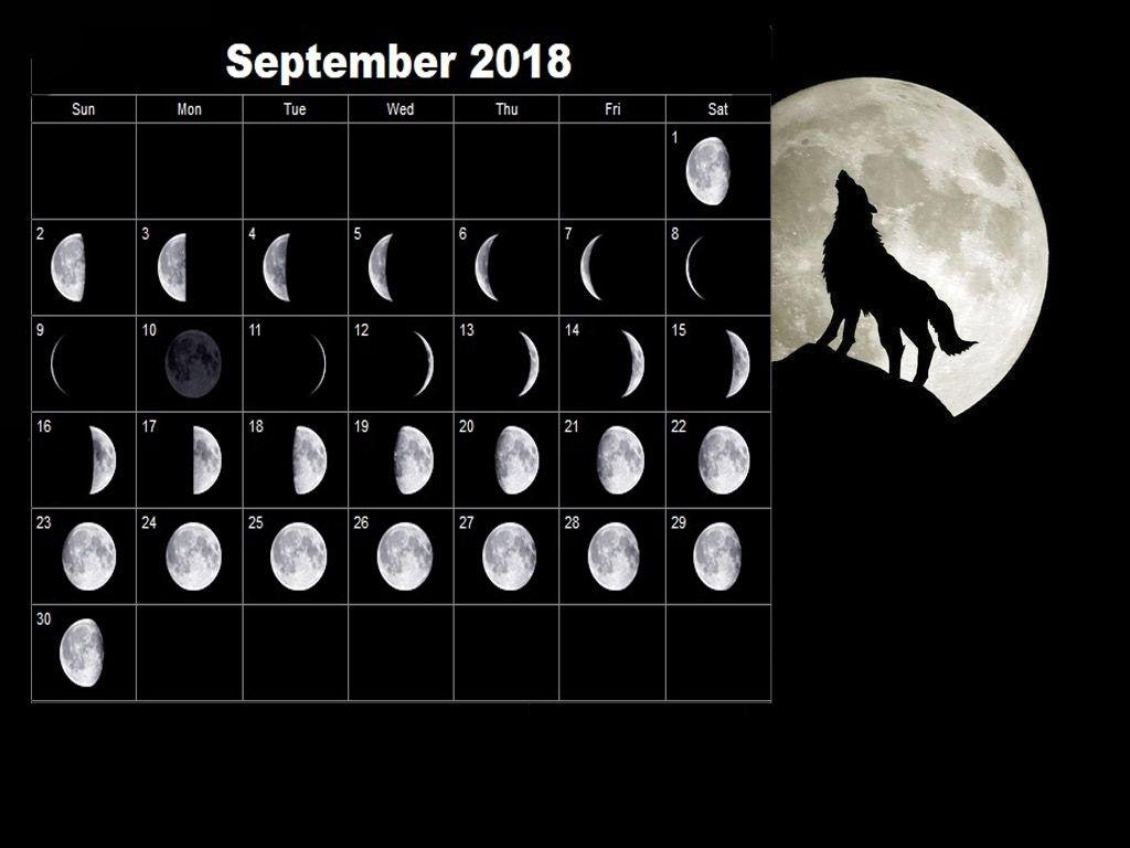 Full Moon Calendar September 2018 | Full Moon Calendar 2018 | Moon inside 12 Month Calendar Based On Lunar Cycles