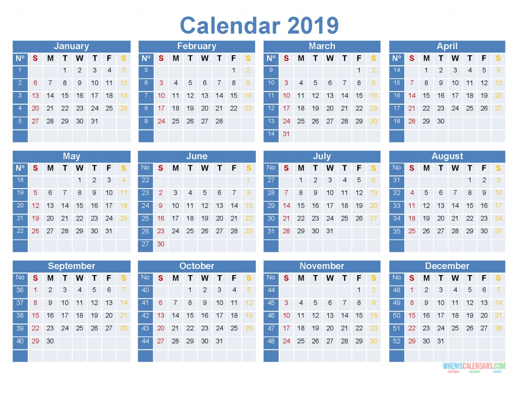 Full Year Calendar 2019 Printable 12 Month On 1 Page [ Us Edition in 12 Month Calendar To Print
