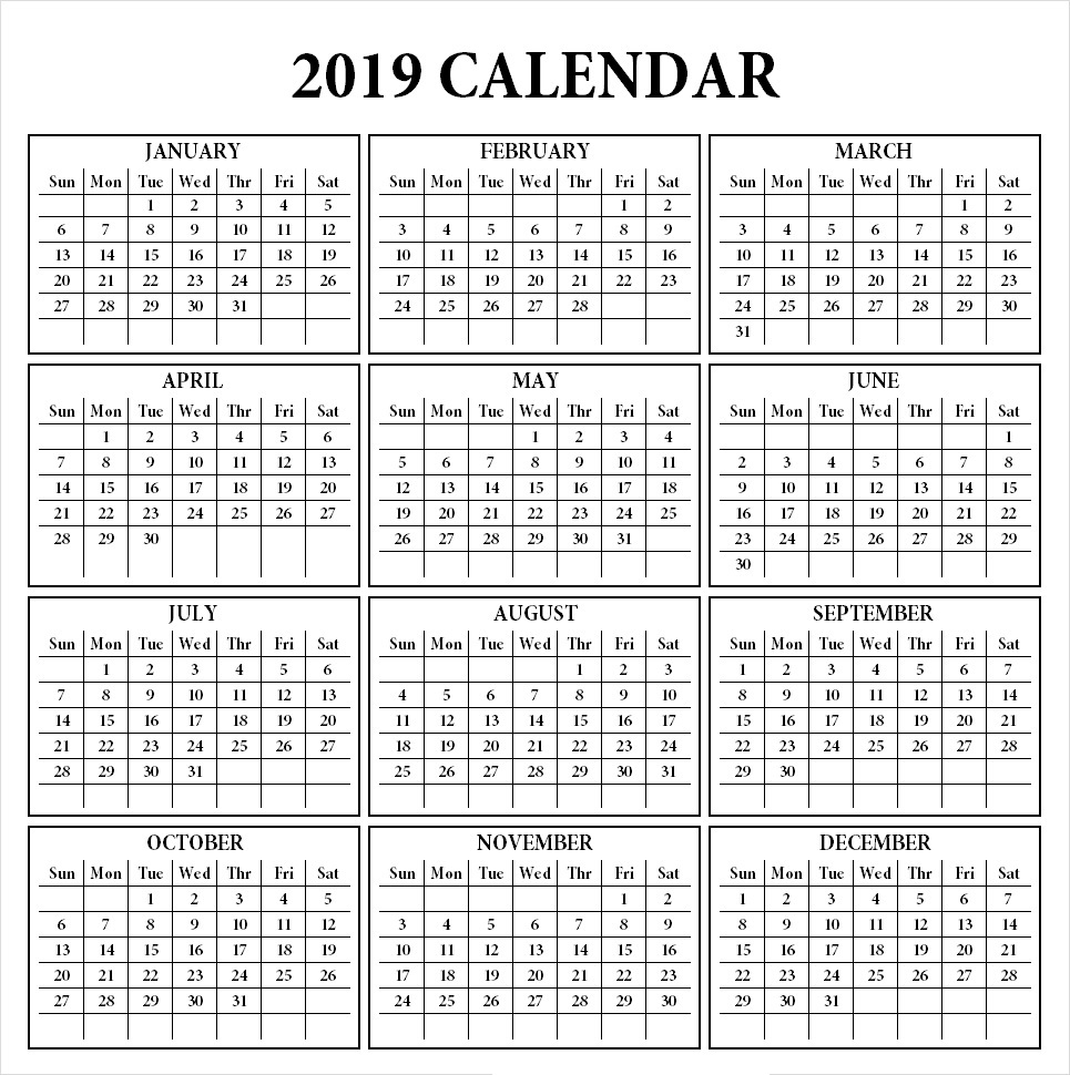 Get 12 Month One Page Calendar Template For 2019 in Blank 12 Month Calendar Printable