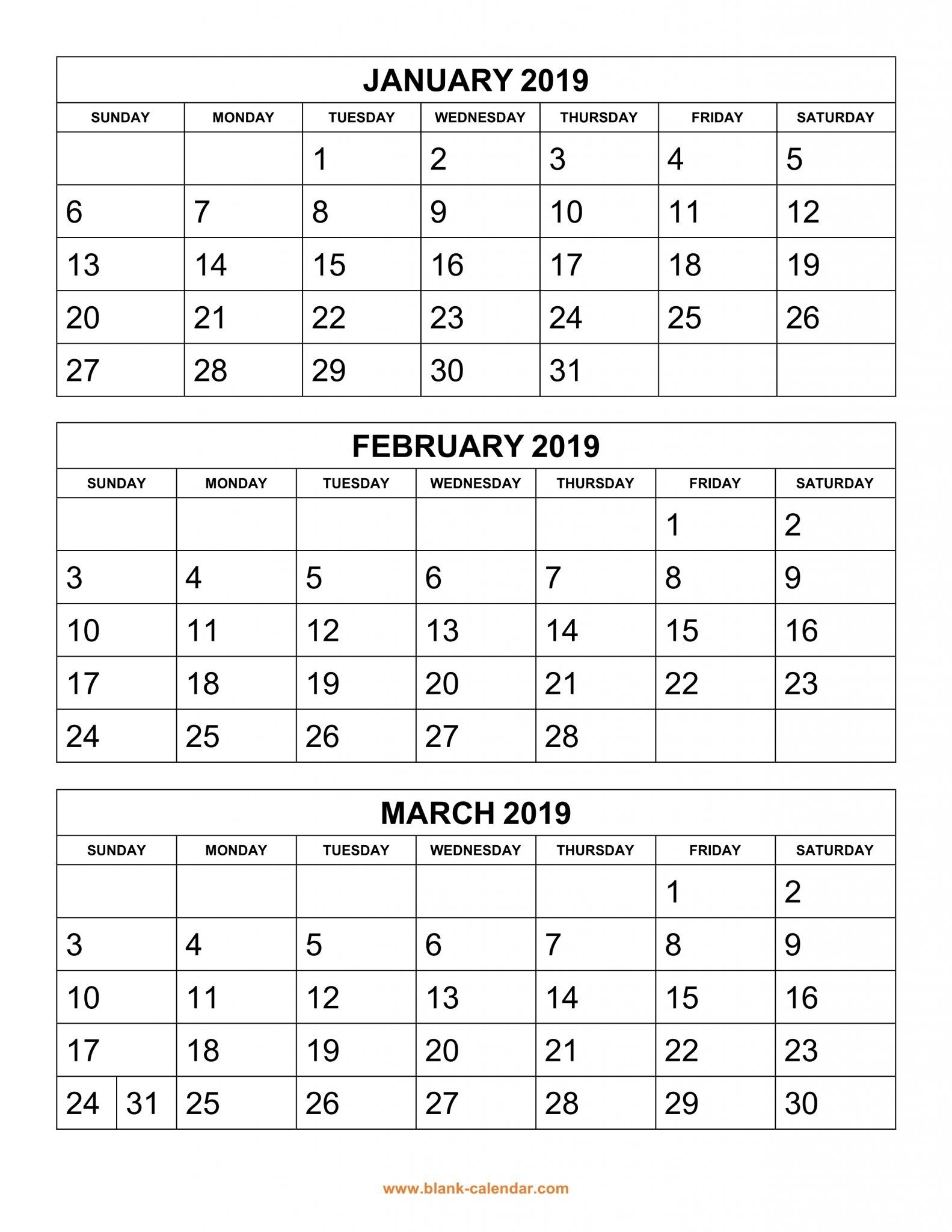 Get Free 2019 3 Month Calendar Templates Printable Download | Top 10 inside Free Printable 3 Month Calendar Template