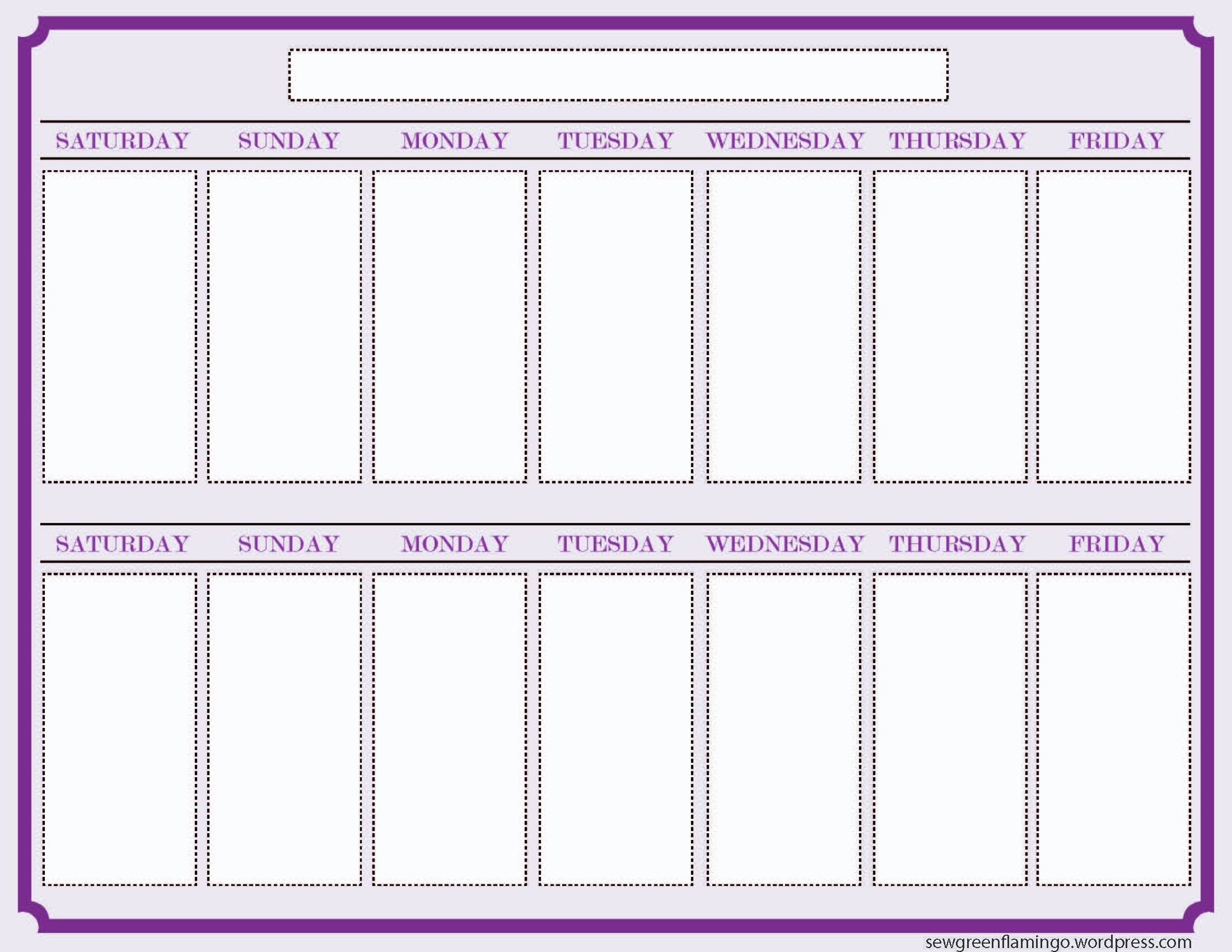 Getting Organized! 2-Week Planner | What I've Been Making - 2013 for 1 Week Blank Calendar Template