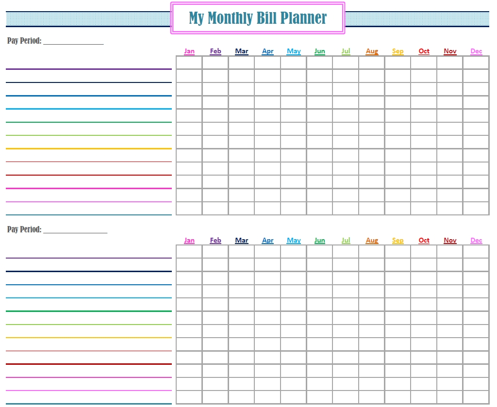 Gold Project Bill Planner | Coo L Stuff | Bill Calendar, Bill - Free with Free Print Out Bill Organizer