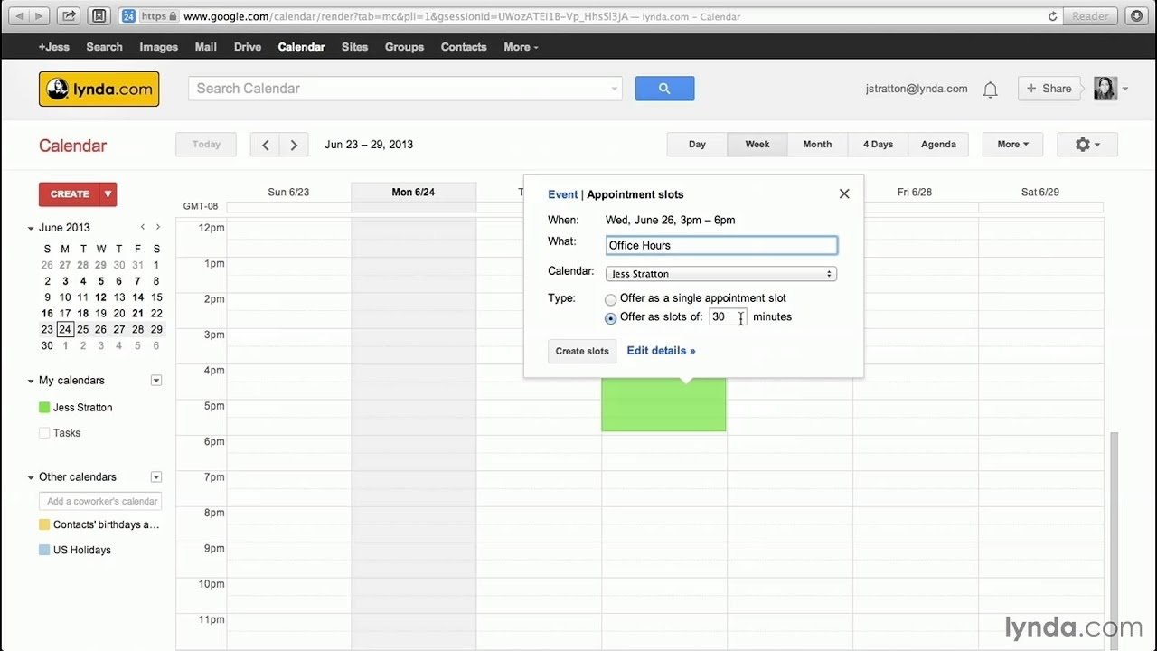 Google Calendar Tutorial: Creating Appointment Slots | Lynda within Free Printable Appointment Time Slots