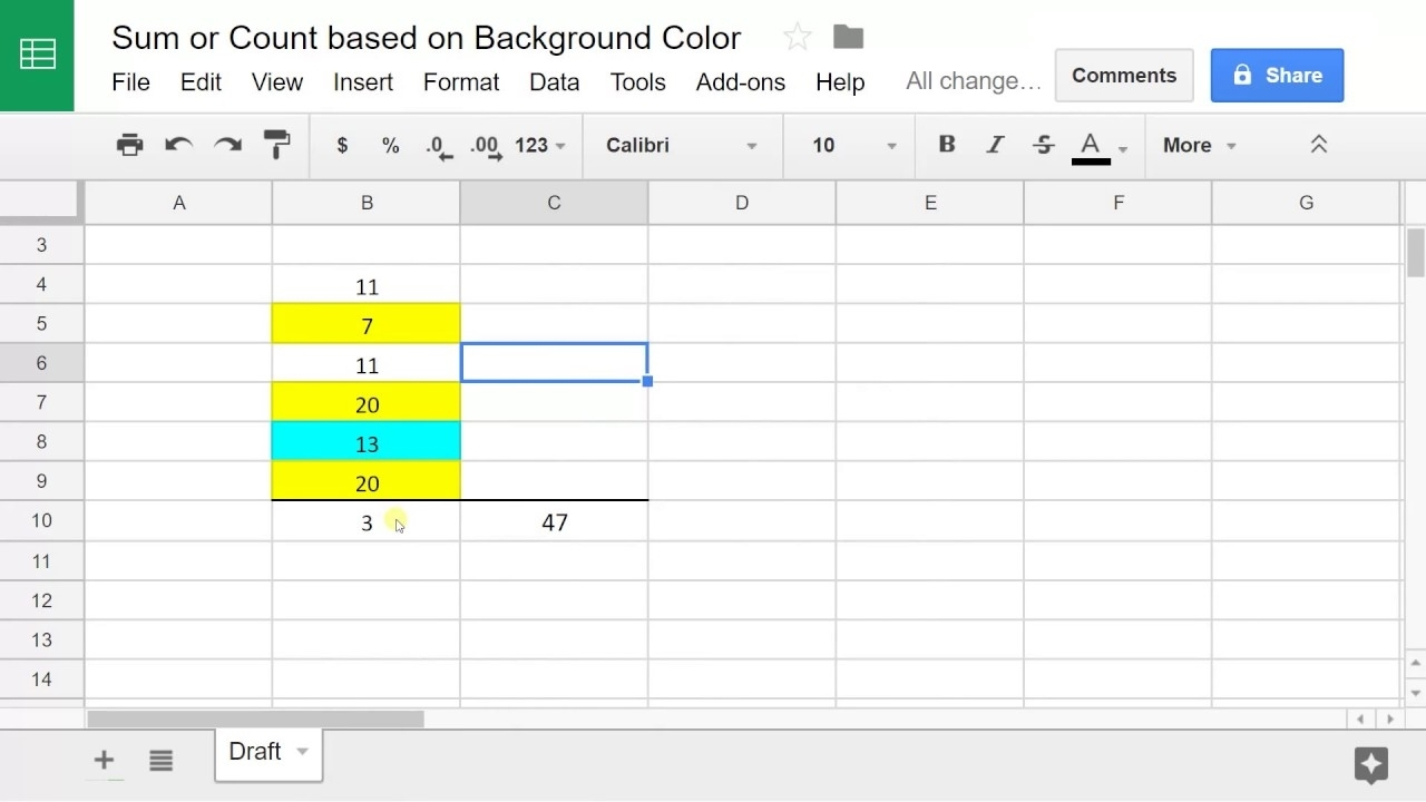 Google Sheets - Sum Or Count Values Based On Cell Color - Youtube within Colouring In Square Sheets For Year Three No Color