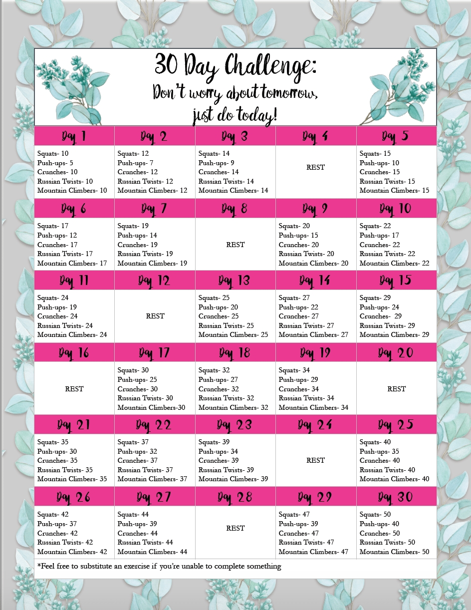 Health, Food, & Exercise Printables intended for 30 Day Fitness Challenges Printable Charts