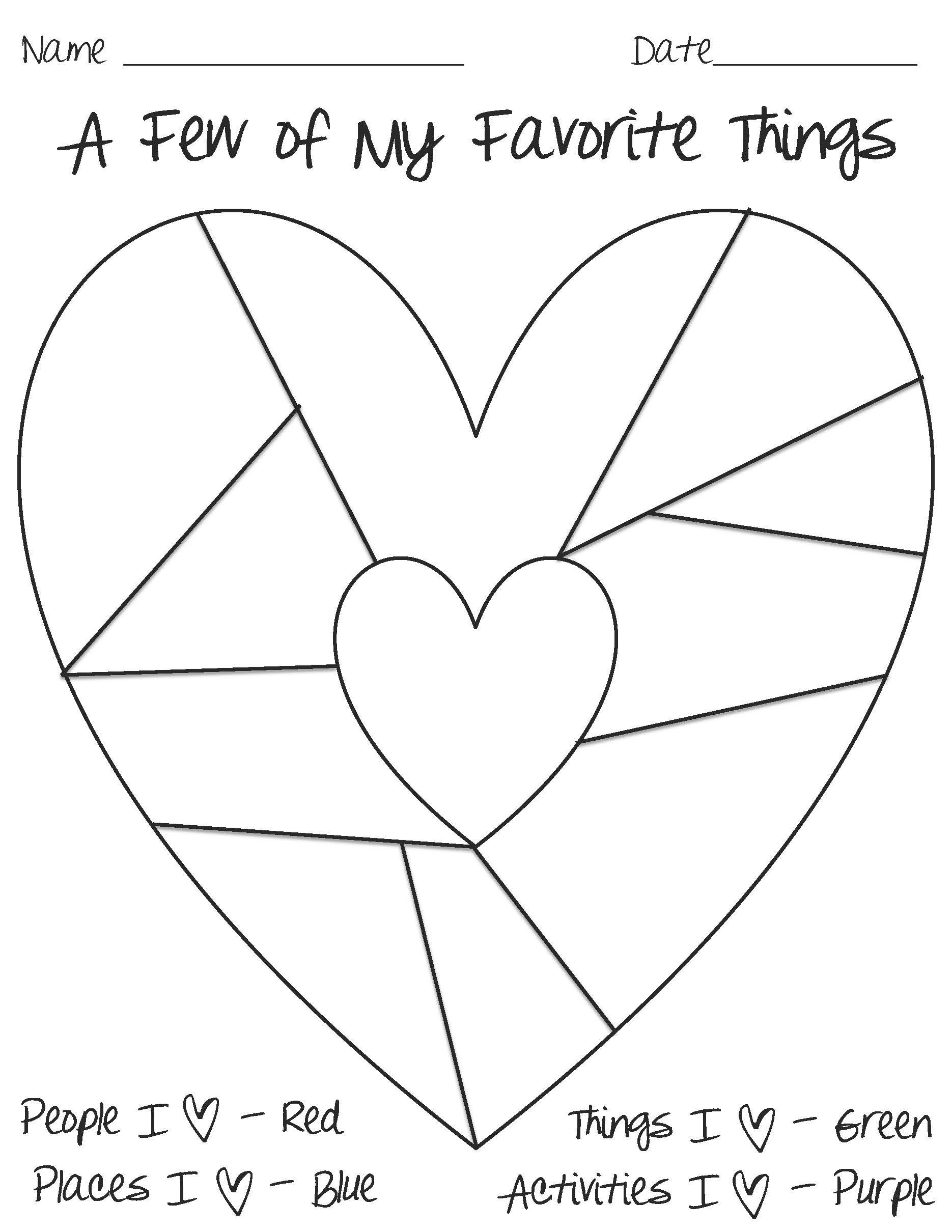 Heart Map Template | Good Resources And Ideas For Teachers intended for A Few Of My Favorite Things Template