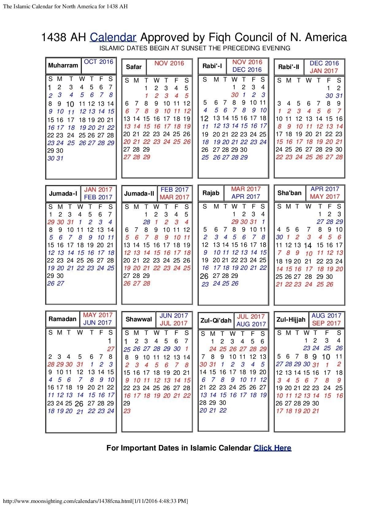 Hijri Calendar 1438 With Gregorian Calendar | Template Calendar for Islamic Year Hijri 1438 Images