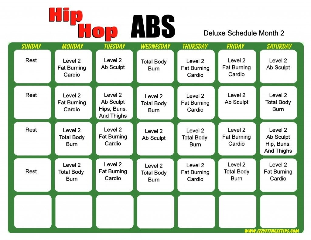 Hip Hop Abs Schedule Deluxe Month 2 | Projects To Try | Hip Hop Abs pertaining to Hip Hop Abs Calendar Pdf