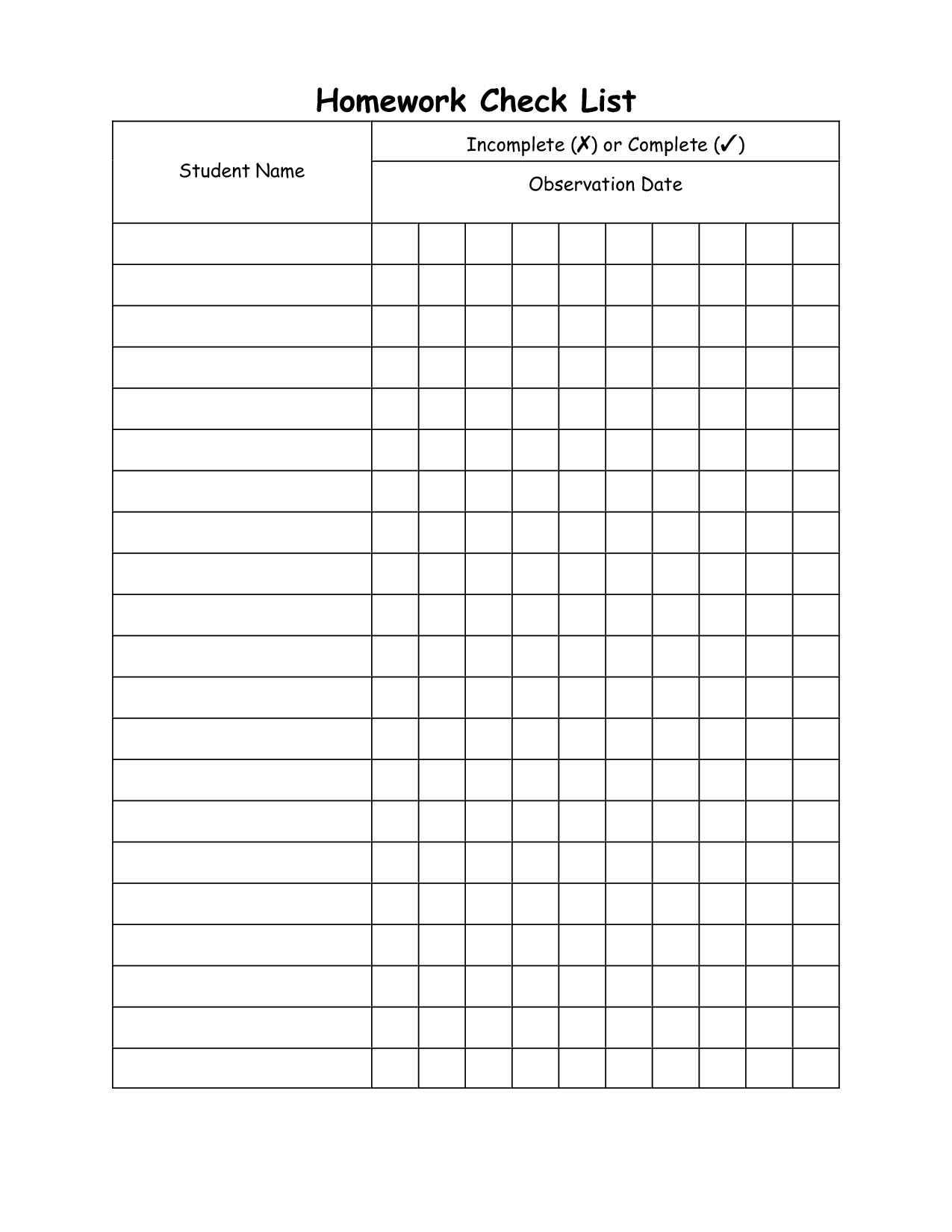 Homework Checklist | Homework Check List Incomplete X Or Complete T within 1St Grade Homework Chart Templates