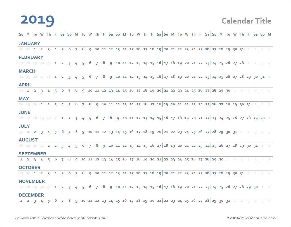 Horizontal Yearly Calendar Templates in Monday Through Sunday Weekly Horizontal Calendar