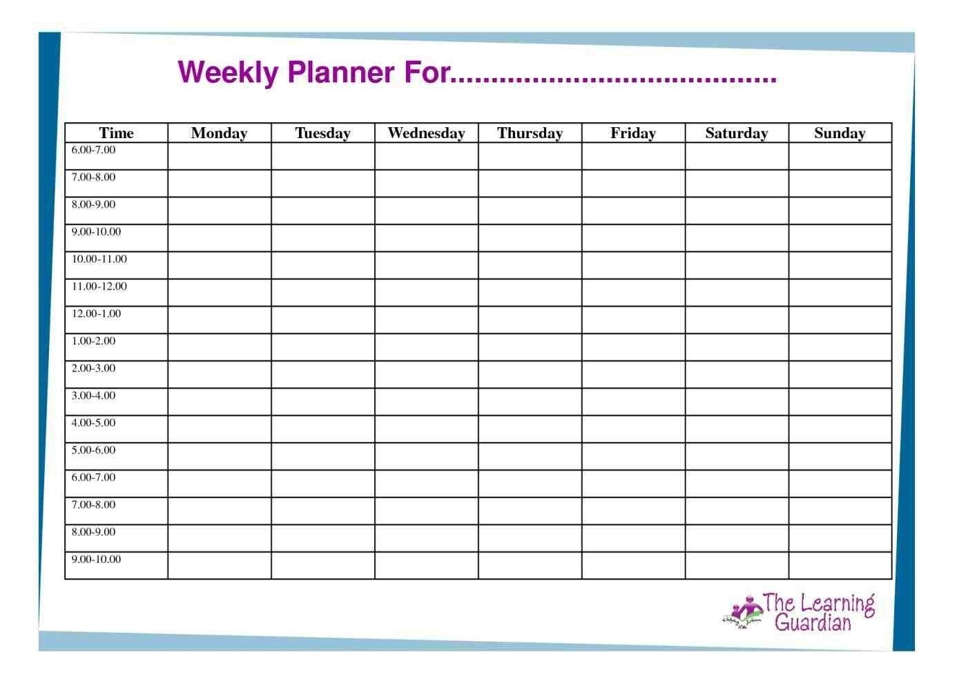 Hourly Schedule Template Week Free Excel | Smorad in Free Printable Hourly Weekly Schedule Pdf