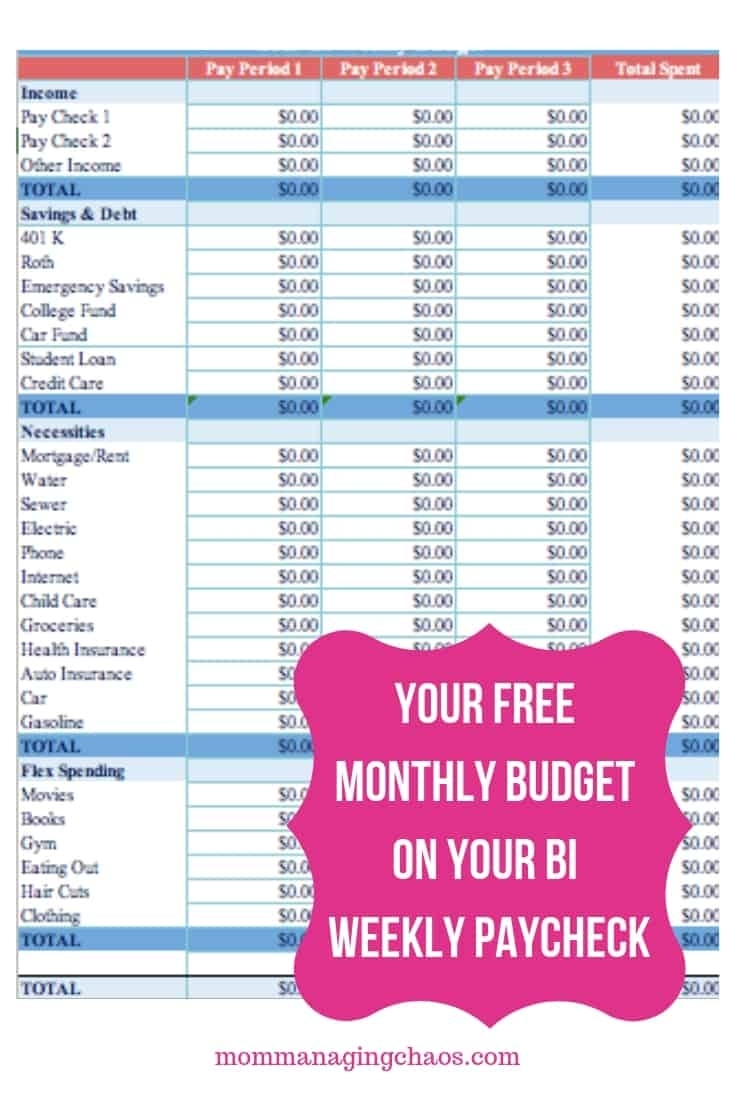 How To Budget Biweekly Paychecks + Paying Monthly Bills for Free Printable Bi-Weekly Bill Organizer