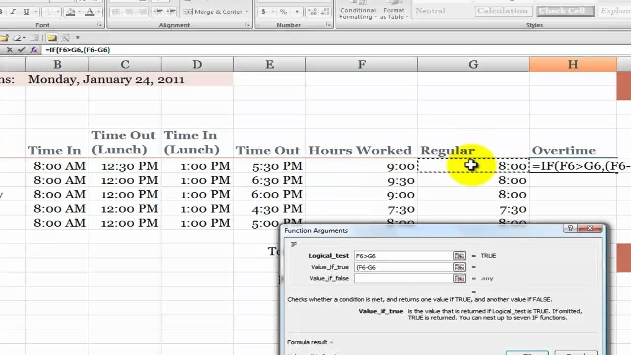 How To Calculate Overtime Hours On A Time Card In Excel - Youtube with regard to 8-Hour Fixed Shift Schedule Examples