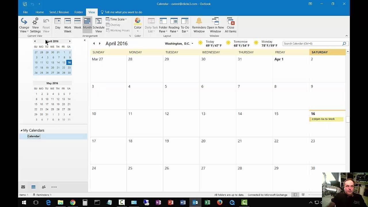 How To Change From List View To Day Calendar In Outlook 2016 - Youtube intended for Outlook 2007 Viewing Inbox In Calendar
