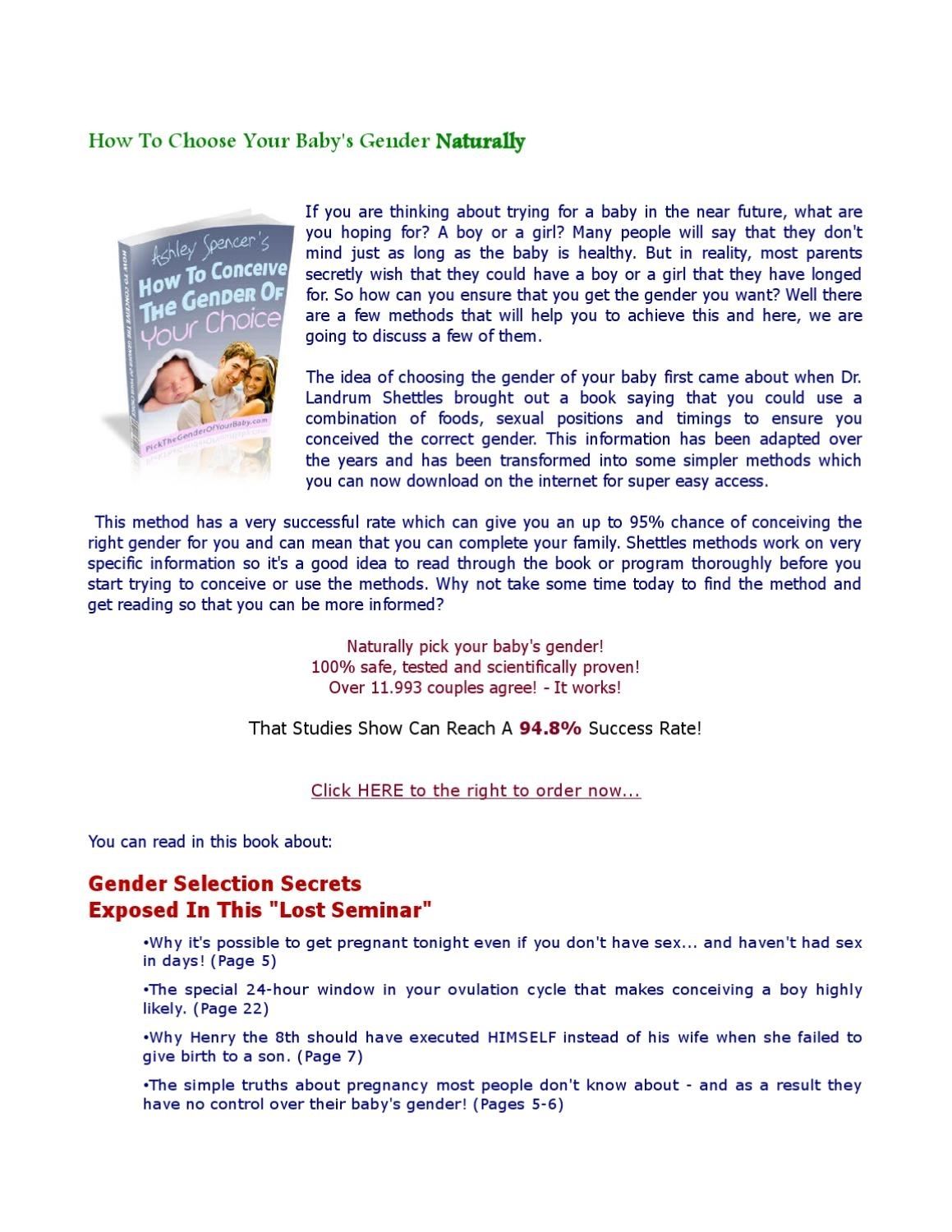 How To Choose Your Baby's Gender Naturallykitu K - Issuu inside How To Choose Your Babys Gender