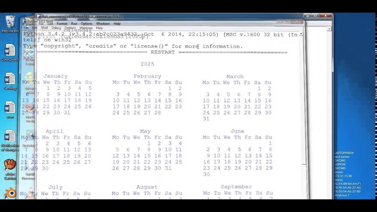 How To Create A Calendar In Python - Youtube regarding Example Of Calendar Month Python 3