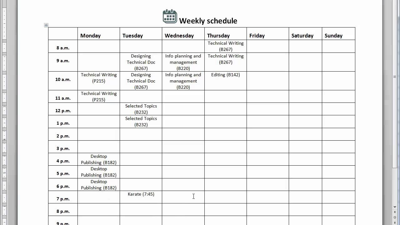 How To Create A Weekly Schedule - Youtube inside How To Create A Weekly Calendar